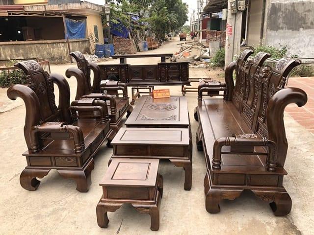 Bộ bàn ghế gỗ mun đuôi công