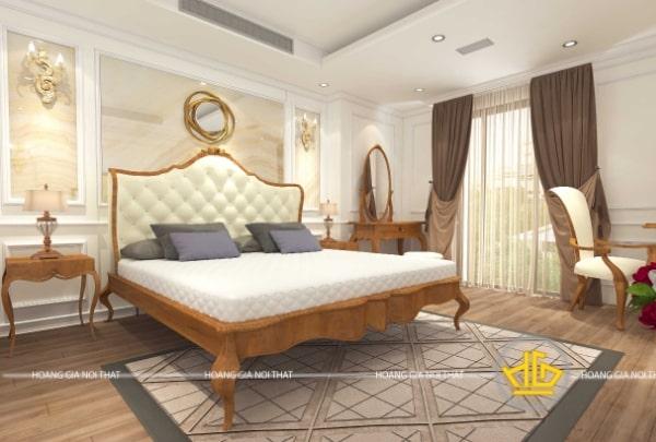 Mẫu giường ngủ tân cổ điển gỗ cao cấp