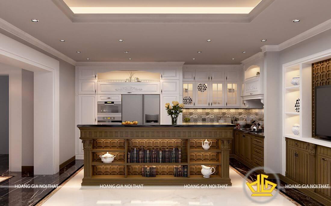 Mẫu tủ nhà bếp gỗ óc chó - Tủ bếp gỗ tự nhiên