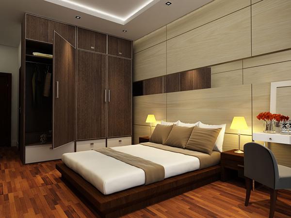 Đặt tủ quần áo gỗ tự nhiên dọc theo chiều dài giường gỗ