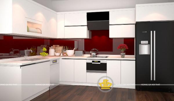 Mẫu tủ bếp Acrylic màu trắng chữ L
