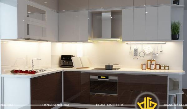 Mẫu tủ bếp Acrylic màu trắng nâu
