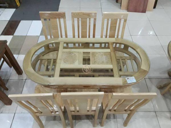 Bộ bàn ăn 6 ghế bằng gỗ sồi có mặt bàn hình Oval