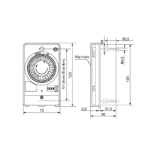 Cấu tạo sản phẩm công tắc đồng hồ panasonic tb118