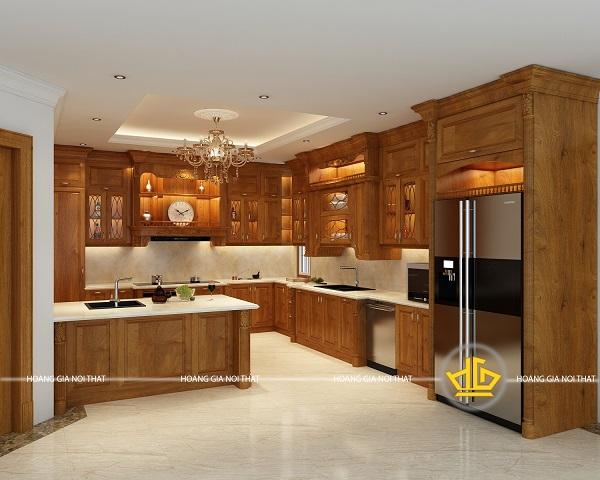 Giá tủ bếp gỗ đồ tự nhiên hiện nay bán ở Nội thất Hoàng Gia